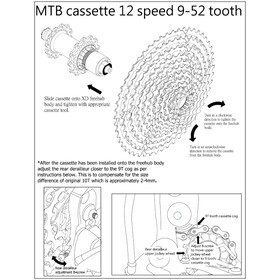 KCNC MTB Kassette Cassette para SRAM Eagle 12-Vel 9-52 Dientes, orange